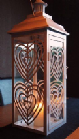 Metal & Glass White Love Heart Sweetie Lantern